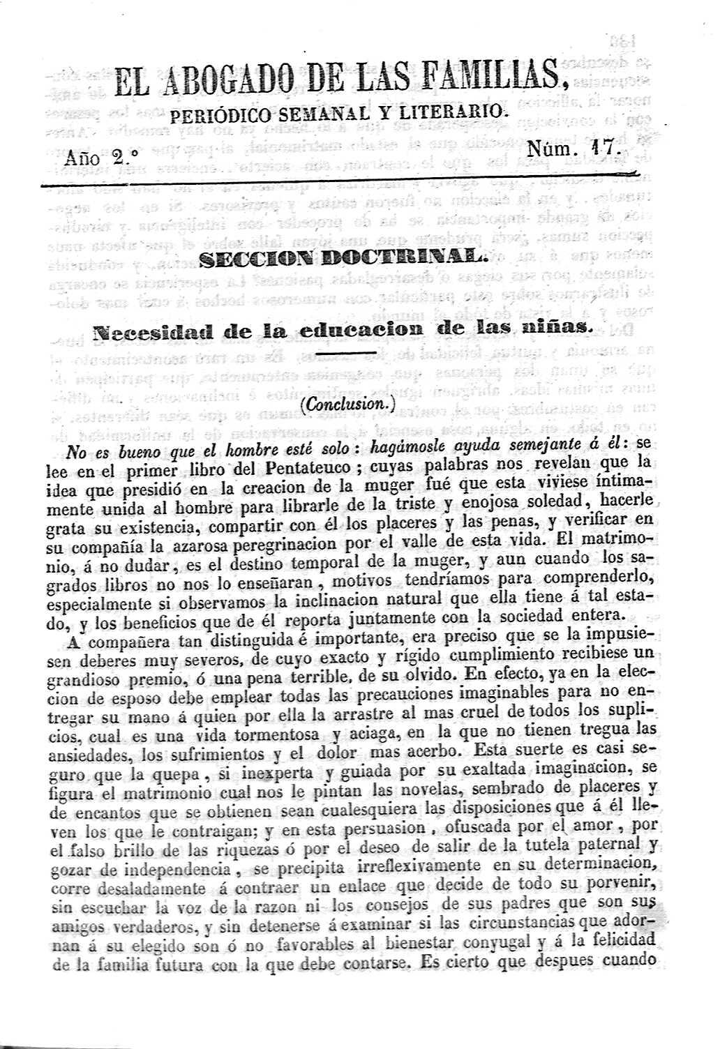 Biblioteca Virtual de Prensa Histórica > \'El abogado de las familias ...
